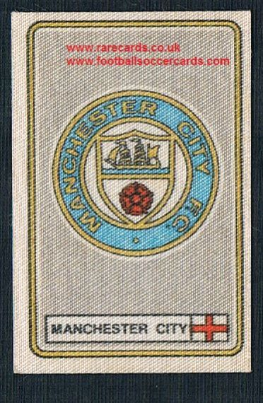 1979 Panini Football 79 silk sticker with backing paper, almost as good as new Man City 211